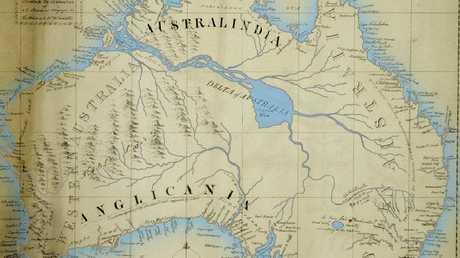 Englishman Thomas Maslen drew this map of a hopeful inland Australia of verdant and fertile property.