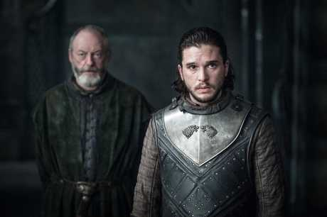 Liam Cunningham and Kit Harington in a scene from season 7 episode 3 of Game of Thrones.