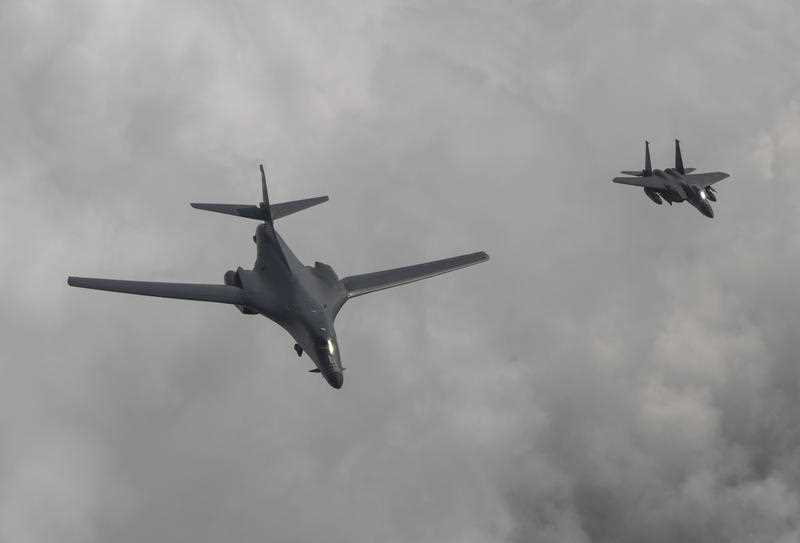 The United States flew two supersonic bombers over the Korean Peninsula on Sunday in a show of force against North Korea following the country's latest intercontinental ballistic missile test.