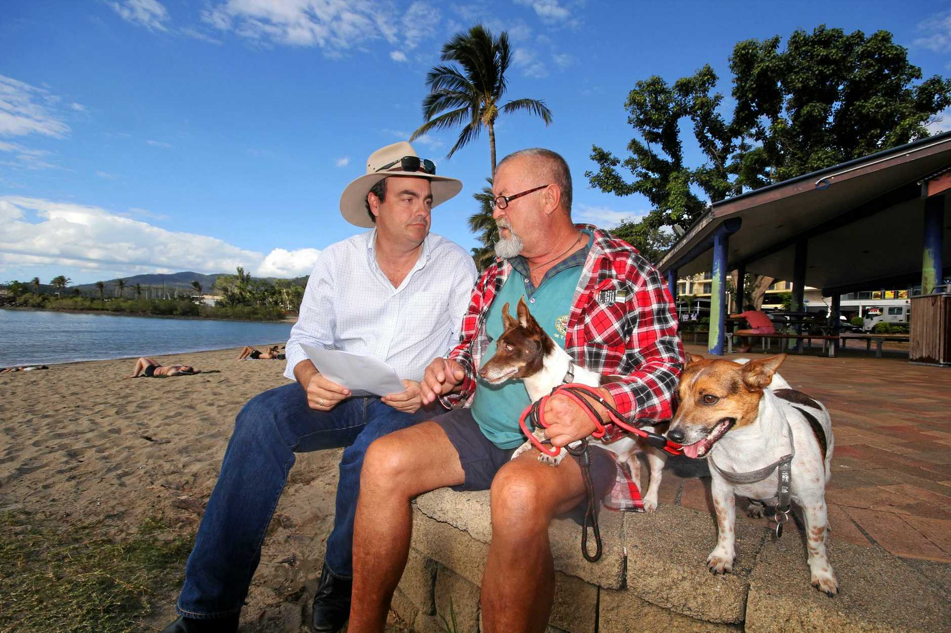 'WHAT A C*CK UP': Member for Whitsunday Jason Costigan talks disaster overpayment with Bob Eden and his dogs Barnaby and Charlie.