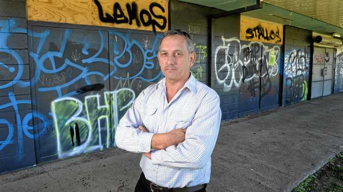 QUICK CLEAN UP: Ipswich mayoral candidate Gary Duffy says graffiti, like the long term spray paint on this community building, needs to be cleaned up immediately.