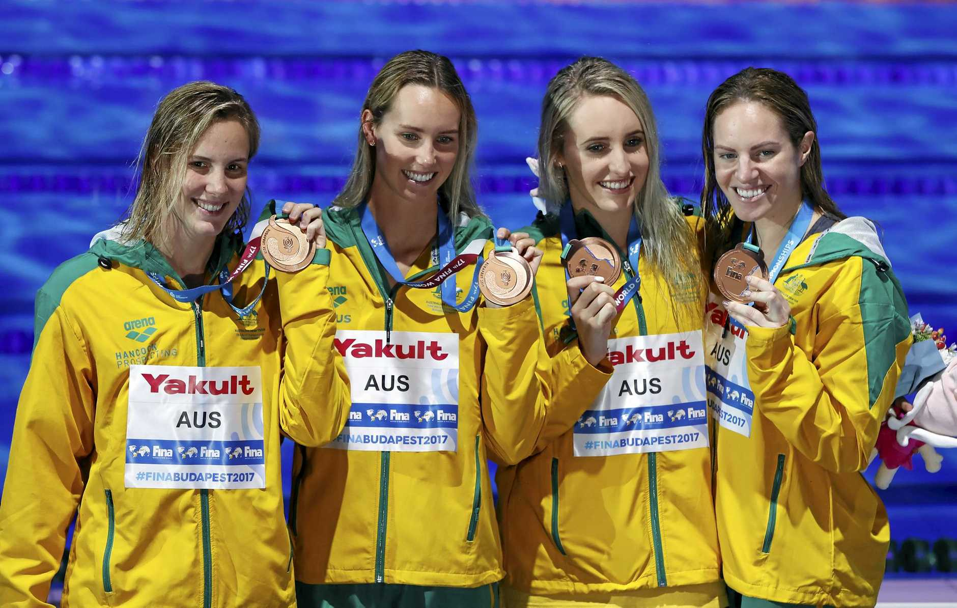 Australia's Bronte Campbell, Emma McKeon, Taylor McKeown and Emily Seebohm from left, show off their bronze medals for the women's 4x100-meter medley relay final