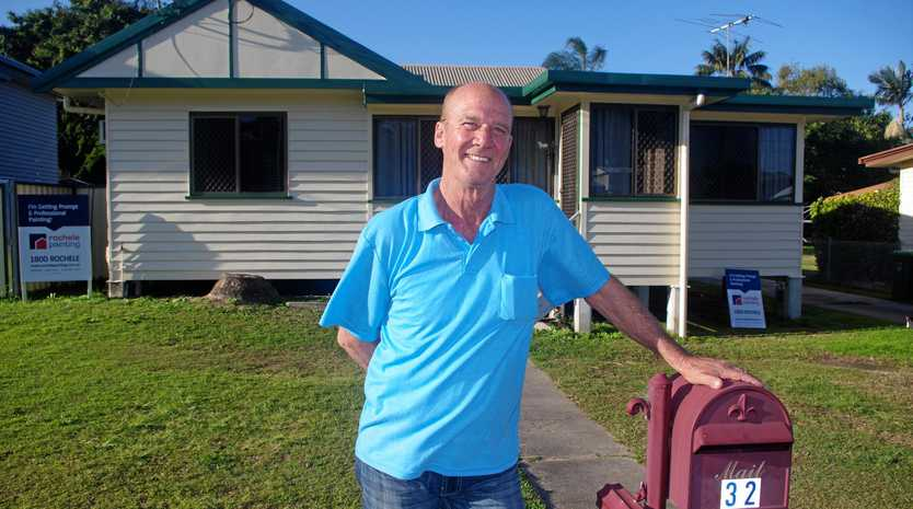 The only blue left on Daryl Hillard's house, after he painted it for State of Origin, is the number on his letterbox.