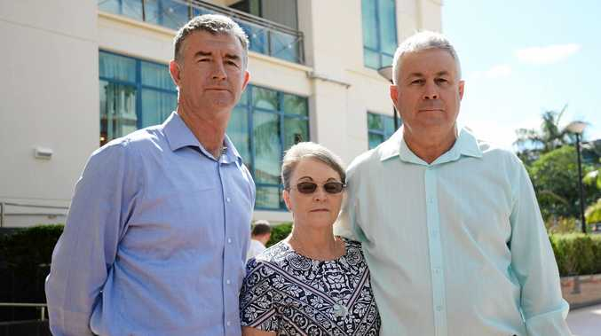 DISTRAUGHT PARENTS: LNP Shadow Corrective Services Minister Tim Mander with Leanne and Gary Pullen, parents of Timothy Pullen, who was brutally murdered in Mackay in 2012.