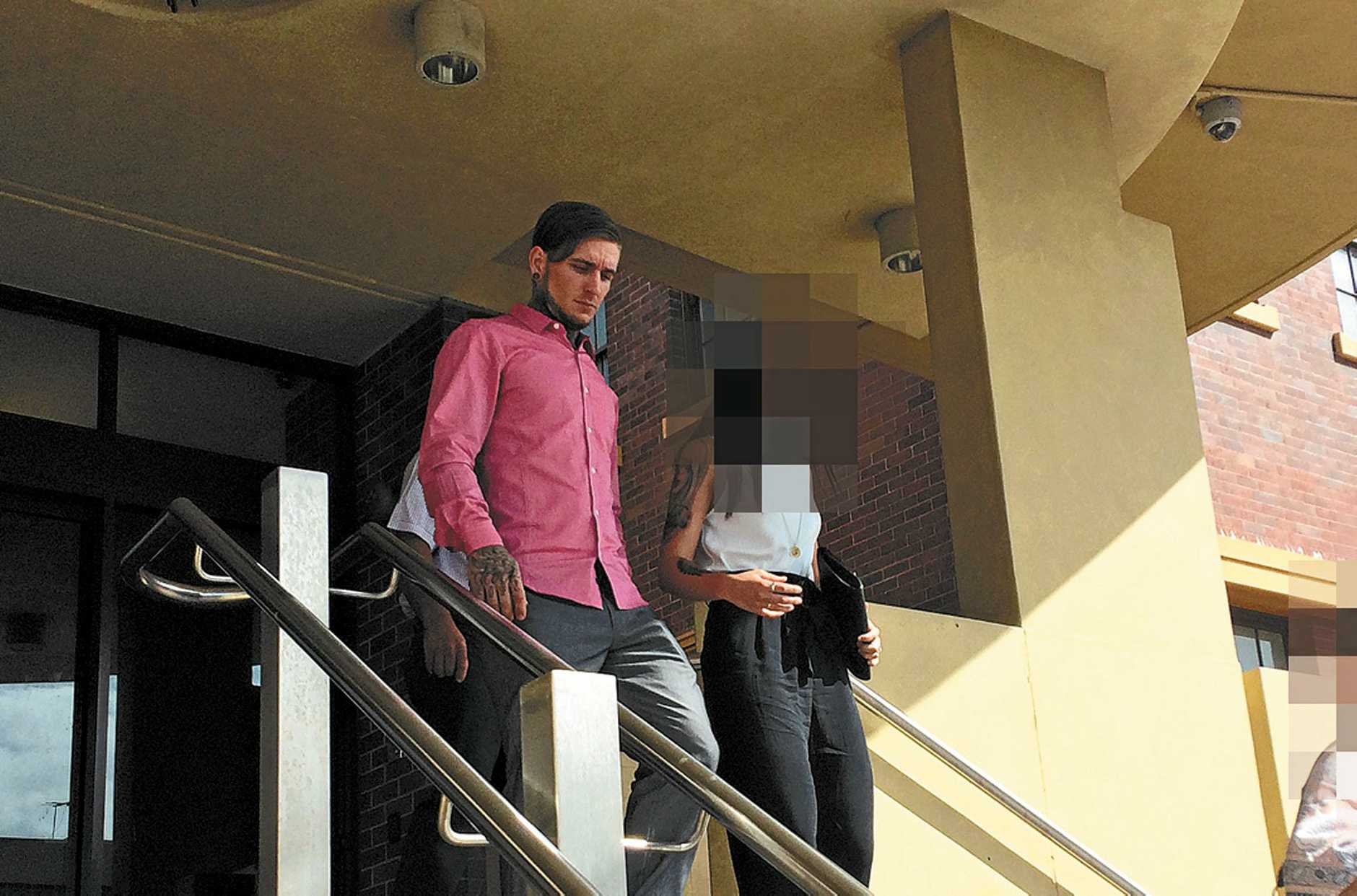 Luke Kister, accused of accessory after the fact to murder, leaving Mackay court house. Photo Lucy Smith / Daily Mercury