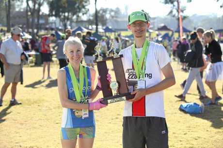 Half marathon winners Clare Geraghty and Johnathon Peters.