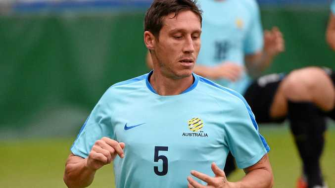 Mark Milligan at Socceroos training.