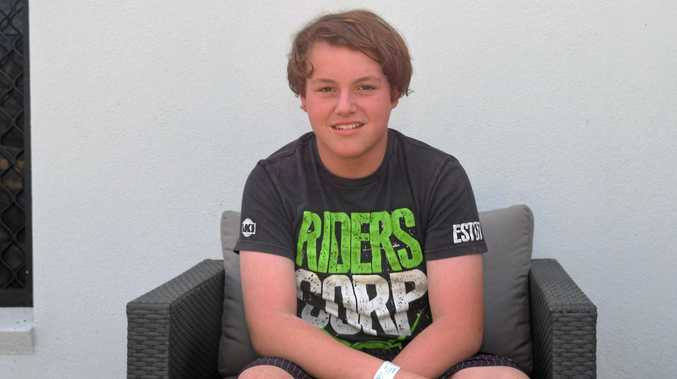 NO LIFE-JACKET: Lochie Brodie, 14, was nursing sore limbs after treading water for about two hours.