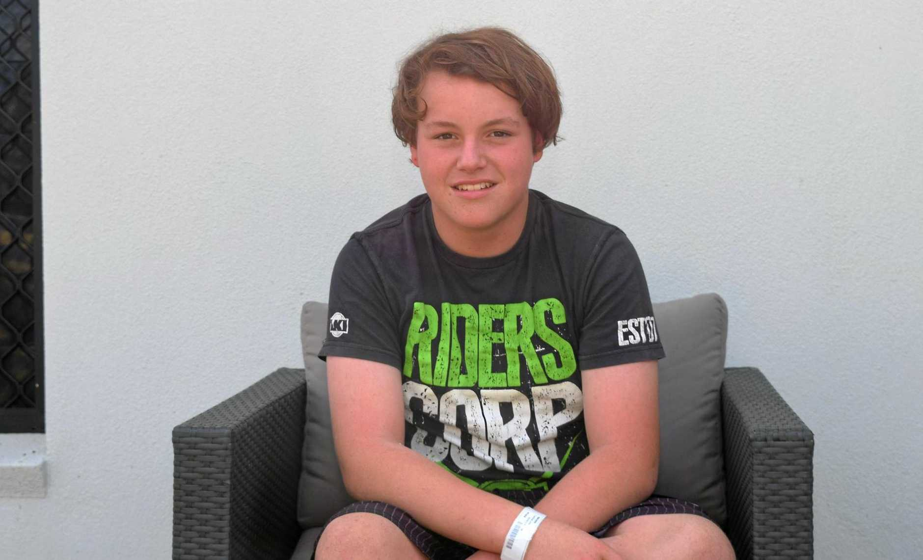Lochie Brodie (14) survived a fall overboard off the coast of Gladstone.