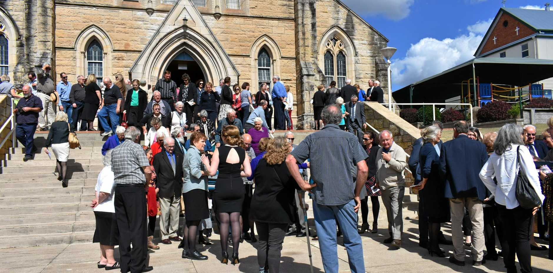 FAREWELL: About 200 people said their last good-byes to local government icon Kev de Vere at a simple and moving funeral at St Patrick's church.