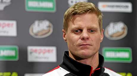 Riewoldt speaks at a media conference at the club