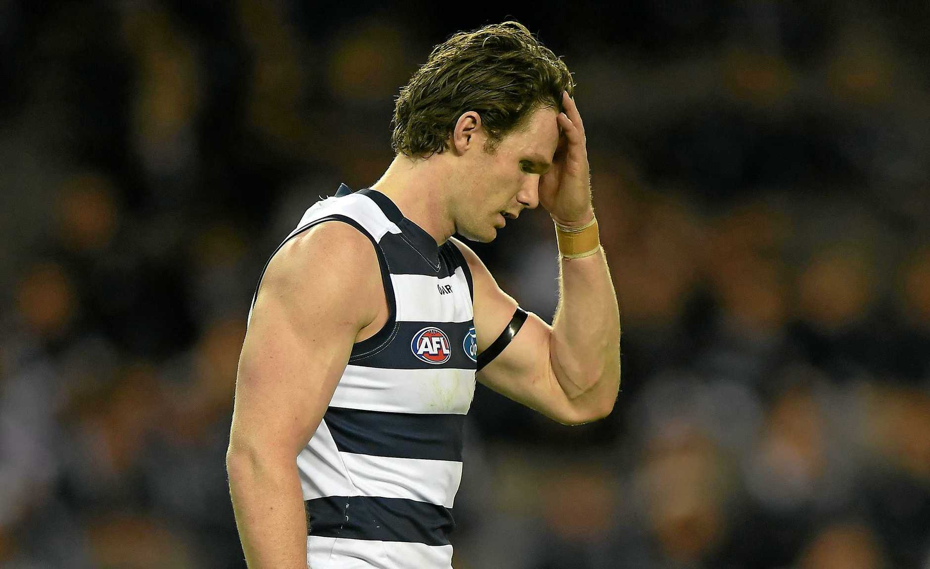What have I done .... Patrick Dangerfield during the Cats' clash with Carlton.