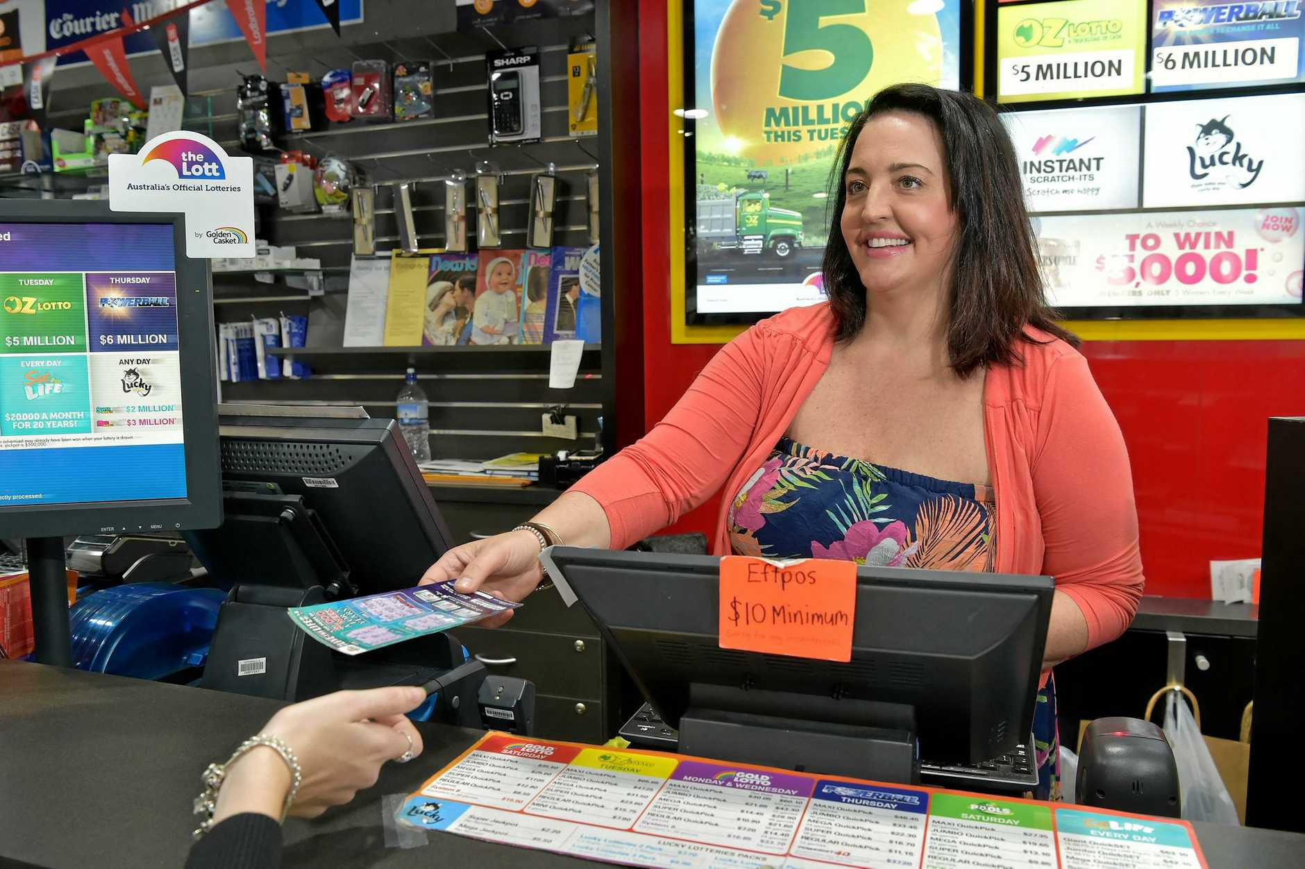 Simone Boulton, back at work at the Maroochydore Newsagency.