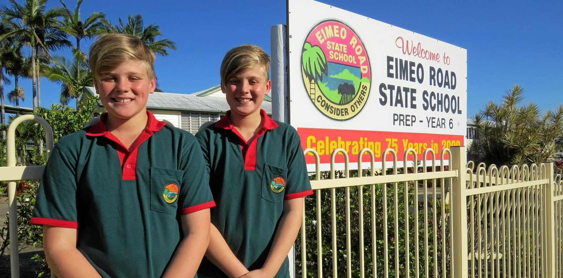 WHAT A RECORD! Christian and Ethan Desborough are enrolments 1000 and 1001 at Eimeo Road State School
