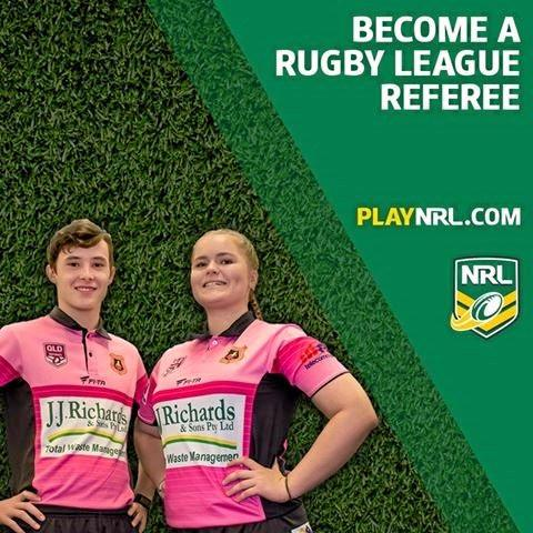 Tamika Brecknell featured on Mackay and District Rugby League Referee's first billboard advertisement with Dakota Eckstein.