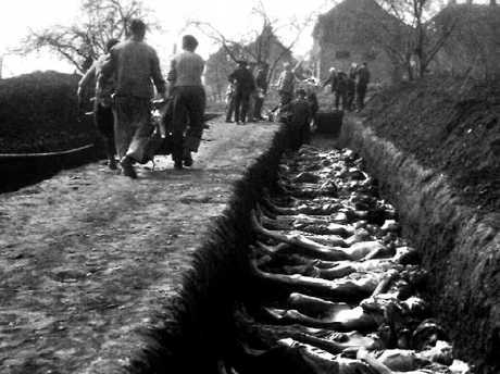 Rows of bodies await burial in pits at Nordhausen, after the liberation of the Nazi death camp by the United States. The IBM machines recorded for the Nazis how their prisoners died. Source:News Corp Australia