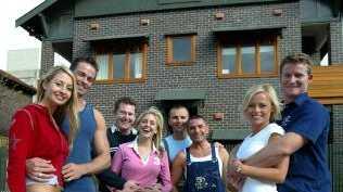 Couples (L-R) Fiona & Adam, Phil & Amity, Warren & Gavin and Kylie & Paul outside Roscoe Street, Bondi apartment block in Sydney in 2003.