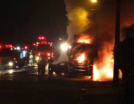 Locals ran to help after hearing the sound of the impact, but reached the scene as the car exploded into flames.
