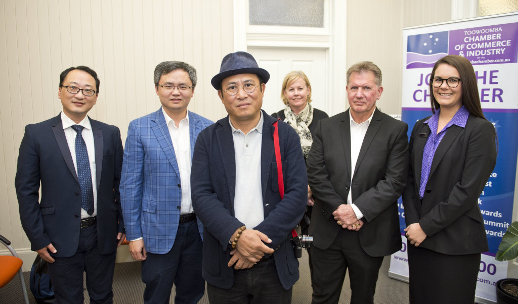 ( From left ) Chongqing Purun Holdings Group chief Australian financial advisor Xueda Zheng, Albert Ren, Chongqing Purun Holdings Group chairman Weimin Huang, Toowoomba Chamber of Commerce CEO Jo Sheppard, Peters Coaches director Russell Peters and Peters Coaches operations manager Cheryse Bliesner. Tuesday Aug 1, 2017.