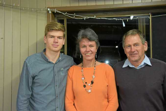 KEEN ATHLETES: Marion Burrill (centre) with son and Australian representative Simeon Burrill and her husband Philip Burrill.