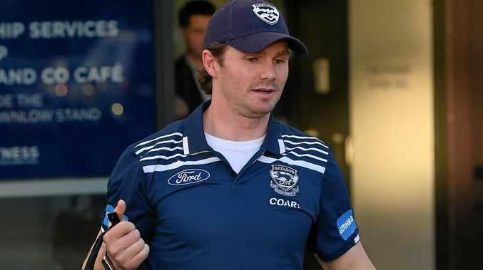 Patrick Dangerfield of the Geelong Cats leaving Simonds Stadium.