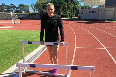 Olympic gold medallist Sally Pearson on her home track at the Super Sports Centre on the Gold Coast.