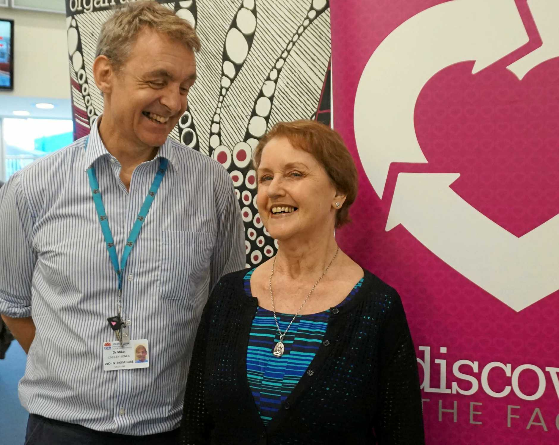 Tweed Hospital Intensive Care Unit lead Dr Mike Lindley-Jones with kidney transplant recipient Susi Daunton, of Stokers Siding.