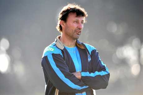 NSW State of Origin coach Laurie Daley watches a training session in Sydney.