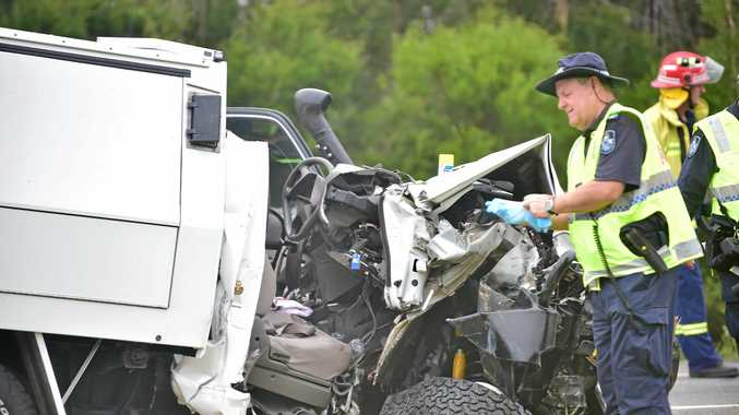 Multiple vehicle fatal crash on the Bruce Highway 3 kilometers south of the Caloundra turnoff. The ute that crossed into oncoming traffic. Photo: Che Chapman / Sunshine Coast Daily