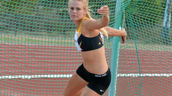 DISCUS THROWING: Taryn Gollshewsky training at the Bundaberg Athletic Club. Photo contributed Paul Donaldson.