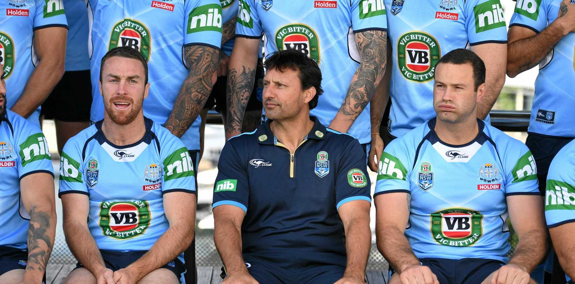 NSW State of Origin coach Laurie Daley is flanked by captain Boyd Cordner (right) and James Maloney.
