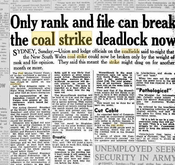 A newspaper clipping showing coverage at the height of the strike.