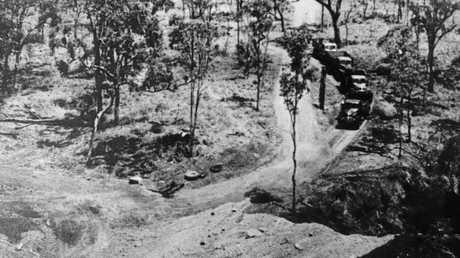 Trucks waiting to start work hauling coal to Mackay during the national miners strike in 1949.