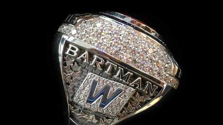 A 2016 World Series championship ring that was given to Steve Bartman by the Chicago Cubs.