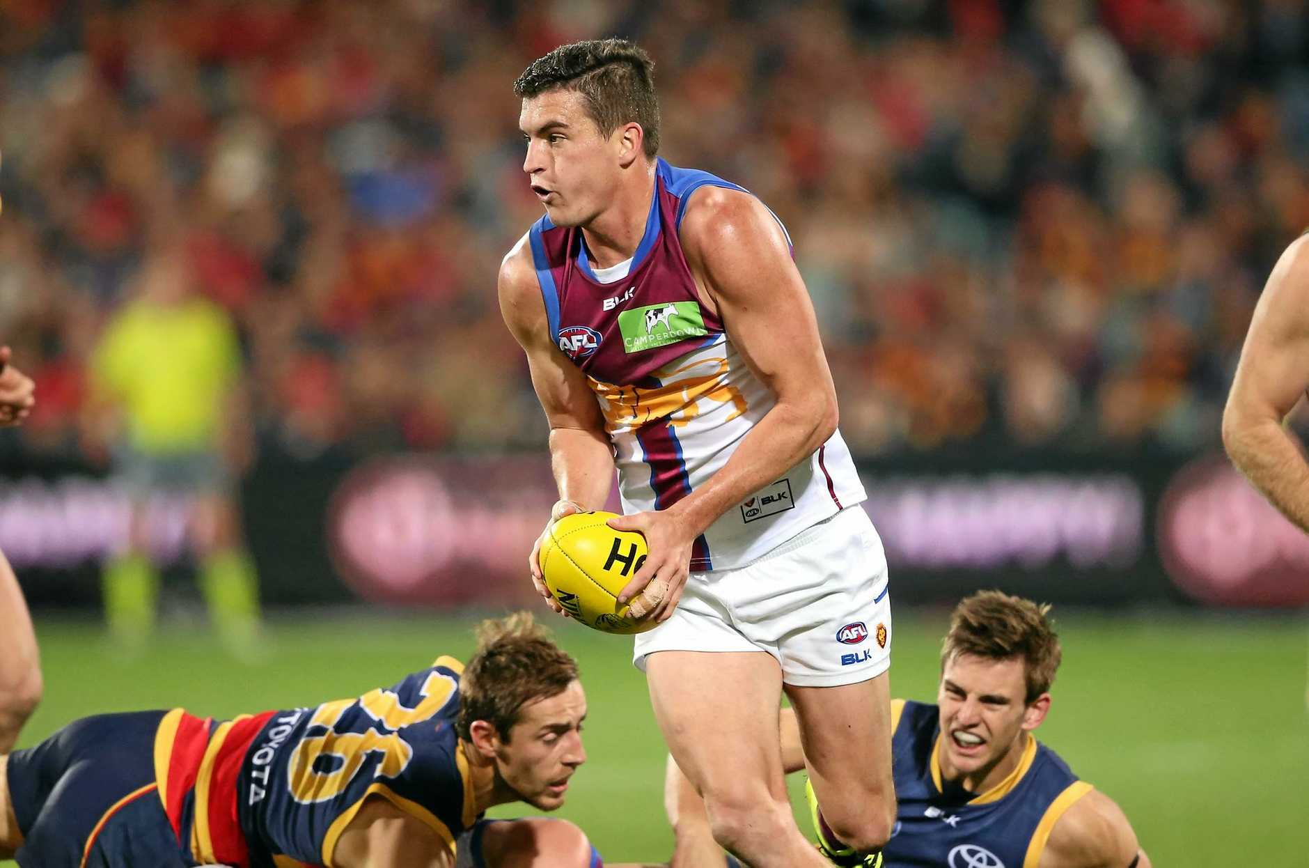 Tom Rockliff of the Brisbane Lions finds space against the Adelaide Crows.
