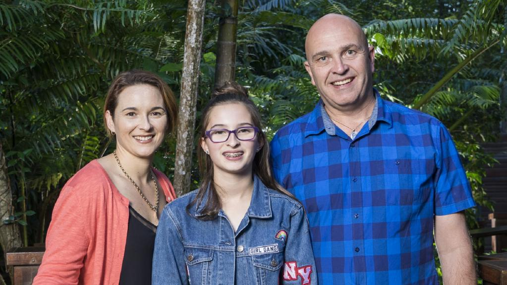 Karina and Andre Bombski with daughter Hannah, 13. Their younger daughter Sophie, 10, died last year after having a seizure in the family pool. The family donated Sophie's organs
