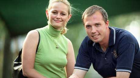 Peter Dutton with his now-wife Kirilly pictured during his 2001 election campaign.