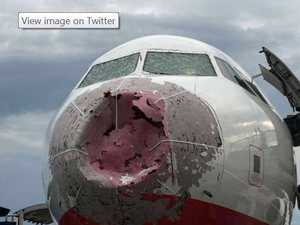 Gigantic hail smashes plane