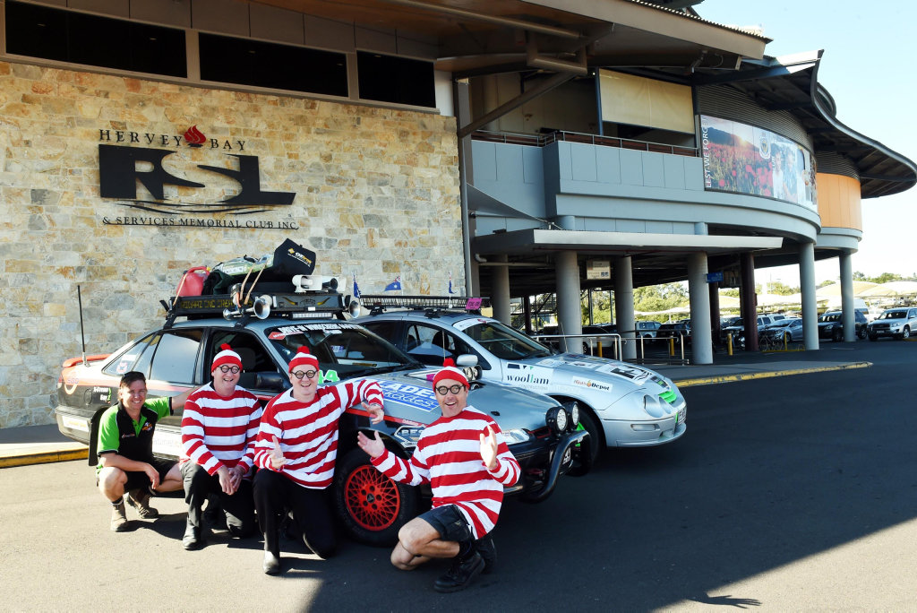 READY TO ROLL: Ross McLeod (left) from team 44 Derbydore and Jason Lynch, Stace Vandersee and Shaun Alexander from Car 40 Team RSL, are all packed and ready to hit the road for the third annual Dunga Derby. Team RSL are hoping to take out the best dressed prize with their Where's Wally costumes.