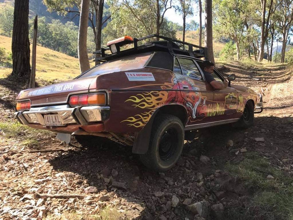 The 'Road Hog' had some fun navigating some rocky terrain while testing out this year's secret Dunga Derby route recently.