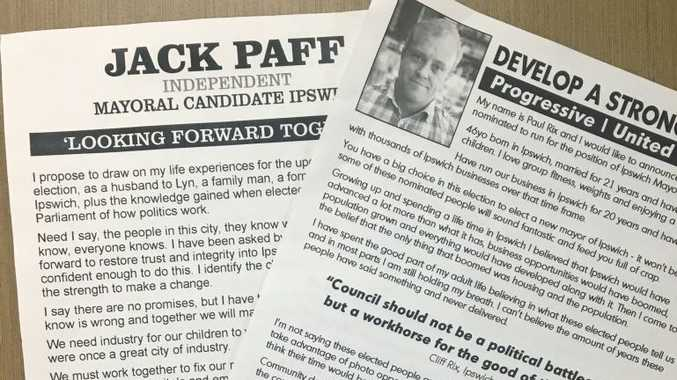 NO TEAM: These flyers have appeared in Ipswich residents' letterboxes and while they look similar, and list the same street address, the two candidates are not working together.
