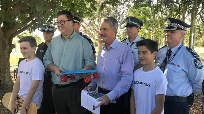 Representatives from the PCYC, Mayor Greg Williamson and Federal Member for Dawson George Christensen, as well as the two boys that made it happen Flynn Bushell and Ethan Leval at the announcement of the federal funding towards the Norris Rd Skate Park.
