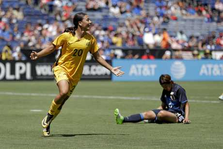 Australia's Sam Kerr reacts after scoring in the Matildas win over Japan at the Tournament of Nations.
