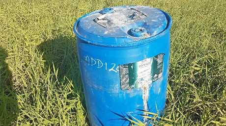 LEFT: The barrel which fell off a truck and hit two cars between Bakers Creek and Rosella on Monday August 1.