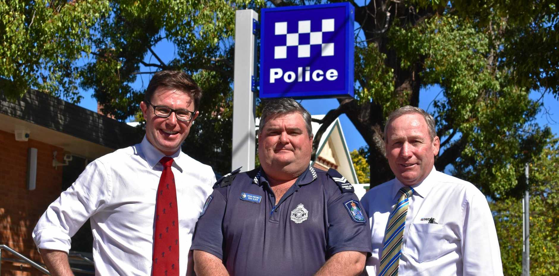 ACTION: MP David Littleproud, Acting Sergeant Ross Olsen and Mayor Paul McVeigh turn on the 14 new CCTV cameras in Chinchilla.