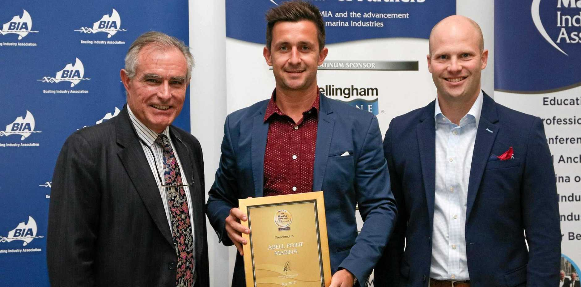 TOP NOTCH: Abell Point Marina GM Luke McCaul accepting the award for Marina of the Year
