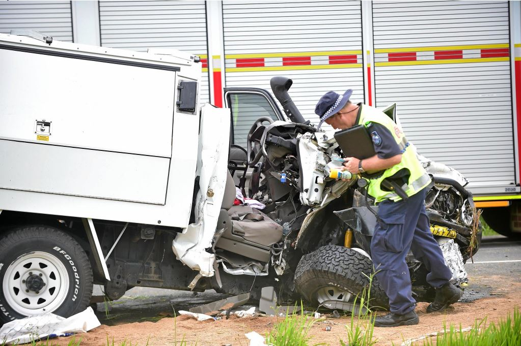 CARNAGE: Paul Gerard Crimmins' vehicle, pictured, was one of five involved in a fatal crash on the Bruce Hwy. The crash killed Noosaville man Graeme Warren.
