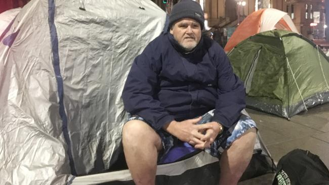 Wayne Grice outside his tent, just metres from the NSW Parliament, in Sydney's Martin Place makeshift camp. Picture: Benedict Brook.Source:Supplied