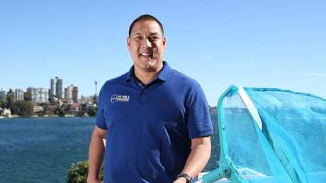 Former Olympic swimmer Geoff Huegill works on a pool at Point Piper. Picture: Danny Aarons