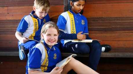 Indooroopilly State School Year 3 students Jasper Stoneley, Ava Alderton and Evelyn Kallarackal, all 8. Picture: Liam Kidston